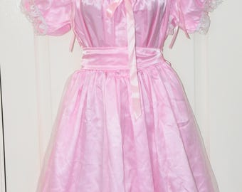 JOL - Sissy Bridal dress in slithery baby pink satin - 1XL, so silky and femme, crossdressing fun, Sissy Lingerie