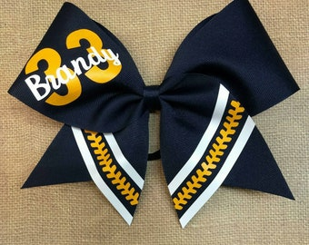Softball Hairbow, YOU PICK COLORS, Custom Softball Bow softball Bow,  Stitching Hairbow,  big softball bow