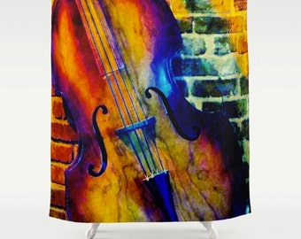 Shower Curtain All That Jazz Double Bass Texas Music Abstract Art