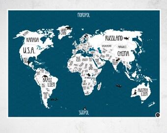 "A1 Poster ""World map"" blue"