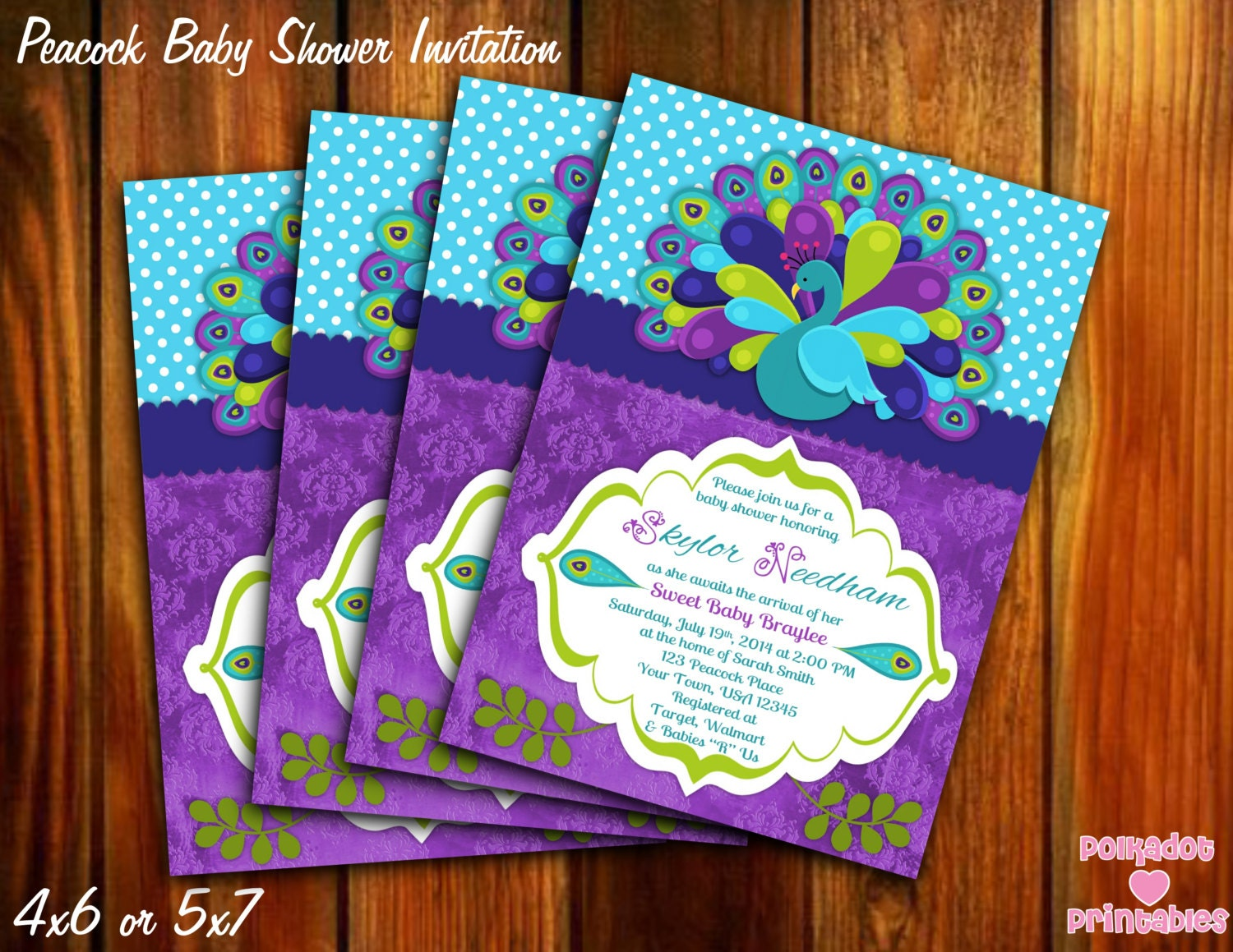 Peacock Baby Shower Invitation 4x6 Or 5x7 Printable