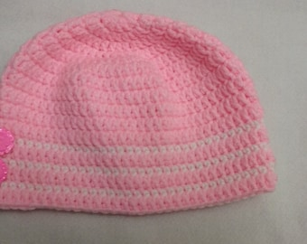 Beautiful pink beanie hat for toddler girls three to five years old