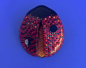Signed Lea Stein Lady Beetle Brooch - Red with Multi Coloured Spots