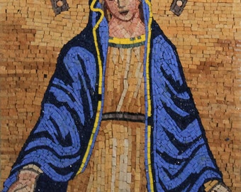 Beautiful Virgin Mary Mother Of All Christian Religious Marble Mosaic FG1070