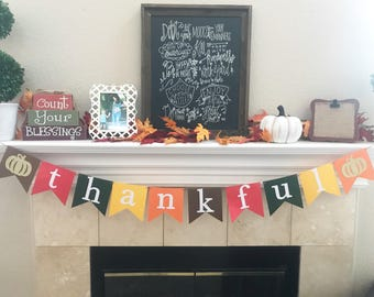Thankful Banner - Thanksgiving Banner - Give Thanks - Autumn Banner - Thanksgiving Decor - Fall Decoration - Rustic Fall Decor