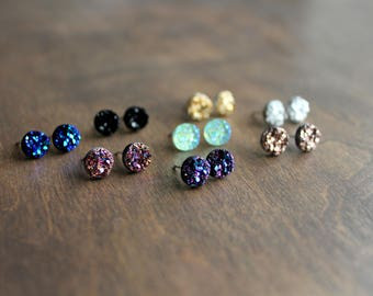 Druzy Stud Earrings, Surgical Steel Stud Earrings, Stainless Steel, Druzy Earrings, Druzy Studs, Rose Gold, Black, Silver, Blue, Gold, 8mm