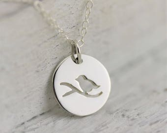 Nature Jewelry Woman, Sterling Silver Bird Jewelry, Bird on Branch Necklace Silver Bird Necklace, Small Bird Necklace, Bird Watching Gift