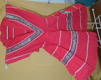 Patio Dress for Your Little Girl! Incredible Vintage Red Square Dance Party Dress