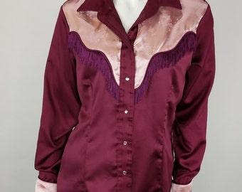 Vintage 70s Anna Zapp Womens Western Shirt 11/12 Satin Pearl Snaps Fringe