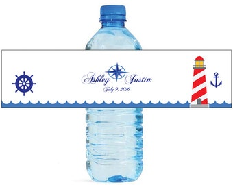 Nautical Star Wedding Anniversary Water Bottle Labels Customizeable labels Ocean Beach Lighthouse