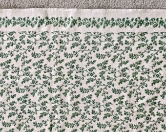 Lovely Green and Ivory Cotton Brocade Tablecloth 54 x 114