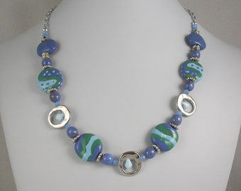 Kazuri necklace in shades of blue and green, Kazuri beads, African beads, Fair trade