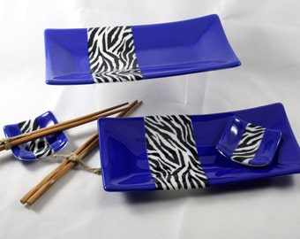 Fused Glass Sushi Set (For Two)- Blue with Zebra Stripes (Made to Order)