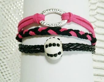 """""""jewel forever"""" bracelet MULTISTRAND pink and black"""