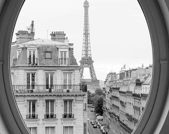 Black and White Photography, Eiffel tower room with a view, Paris Decor, Haussmann apartments in Paris, Paris Architecture, Rebecca Plotnick