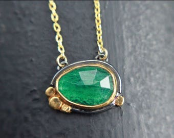 Sterling silver oxidized and gold plated natural aventurine necklace