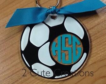 Acrylic Soccer Keychain/Bag Tag