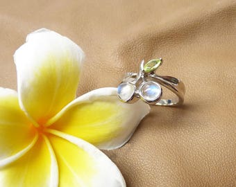 Moonstone ring,Tourmaline ring, Cherry Design Ring,silver jewelry,engagement ring,multi gemstones ring!