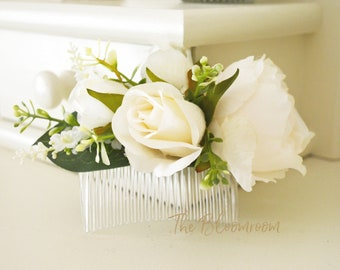 cream peony bridal flower comb rose buds silk flowers hairpiece prom floral comb traditional wedding silk flower comb destination wedding