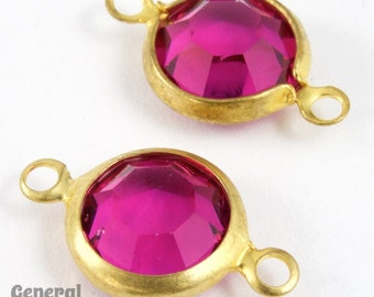 39ss Gold/Fuchsia Rhinestone Connector (10 Pcs) #XSR099