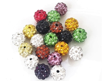 new stock multi colored lot of crystal encrusted beads--lot of 20