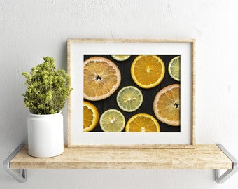 citrus v. one // food photography print // kitchen decor // dining room // minimalist art print // rustic farmhouse wall art