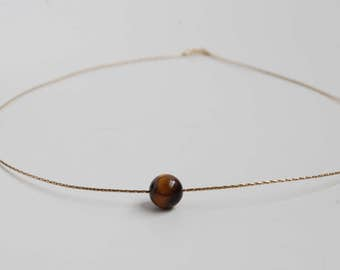 Tigers Eye & 14K Gold Rope Necklace