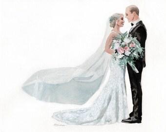 Custom Wedding Portrait - Custom Watercolor Portrait - Custom Family Portrait