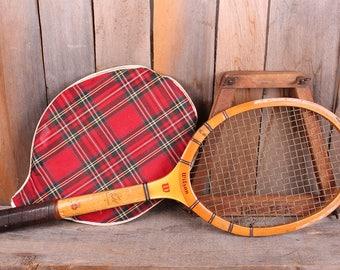 Vintage Don Budge Wilson Brand Wooden Tennis Racket Tartan Bag Rack