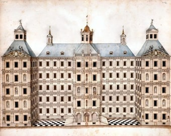 Elevation of Grand Palace Gran Palacio anonymous architectural drawing Spain c1770-1800 AD2-30