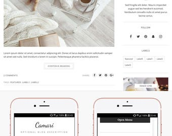 Blogger Template Responsive, Blogger Theme, Minimal, Slider, Simple, Photography, Template for Blogger, Premade, Blogspot - Camari