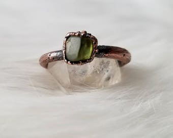 Size 8.75 peridot stacker ring electroformed copper crystal ring