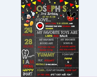 Mickey Mouse 1st Birthday Sign