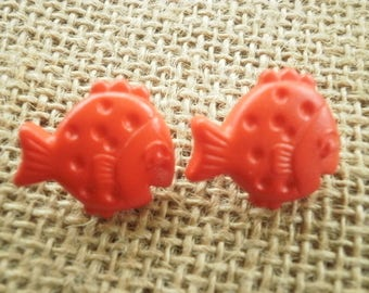 Set of 2 fish in plastic, red color, size 20 mm buttons