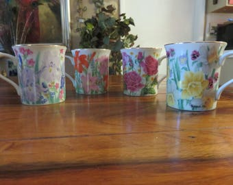 Beautiful Vintage Lenox Fine Porcelain Flower Blossom Mug Collection By Suzanne Clee Set of Four