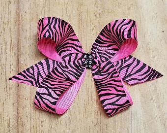 Small Hot Pink Zebra Hair Bows