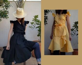Wrap dress, linen // red linen wrap dress / yellow linen wrap dress / black linen wrap dress / linen wrap dress / #kadrika