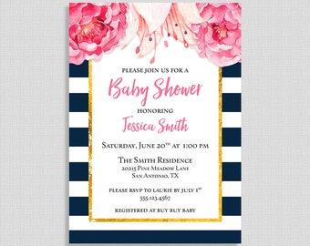 Baby Shower Invitation, Navy & White Stripe Peony, Pink Floral Baby Shower Invite, DIY PRINTABLE