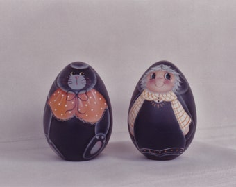 Little Witch and Kitty - Tole painting pattern packet for painting on 4 inch wooden eggs