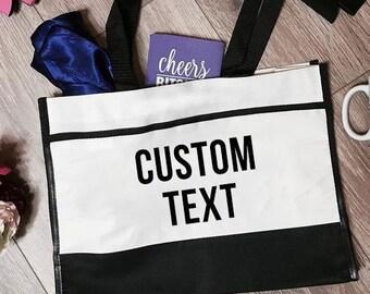 Customized Trim Tote Bag | Customized Tote Bag | Customized Totes | Bride Tote Bag | Bridal Party Tote Bag | Bachelorette Party Tote Bags