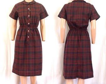 "1960's Deadstock ""Prince Charmers"" Plaid Shirtwaist Dress Sz. S"