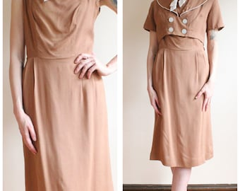1950s Dress // Lee Holiday Rayon Dress with Bolero // vintage 50s dress