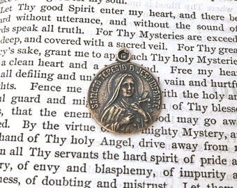 St. Therese of Lisieux -St. Therese of the Child Jesus - Little Flower - Religous Medal - French - Catholic - Bronze Medal - Reproduction