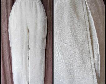 Giorgio Armani White Pants / Vintage Giorgio Armani Pants / fits M /  Armani Minimalist Pants / Armani Flax Pants / Armani linen pants