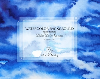 "High Resolution 2 WATERCOLOR BACKGROUNDS Digital Design Resource Instant Download ""Blue ink"""