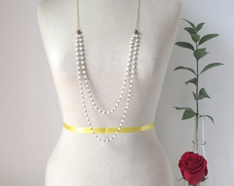 Romantic Vintage Rosary Bead Necklace