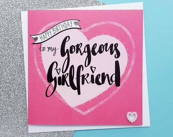 Card for girlfriend etsy girlfriend birthday card romantic girlfriend card birthday card girlfriend gorgeous girlfriend birthday bookmarktalkfo Image collections