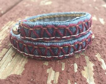 Re-Purposed Denim Hand-Embroidered Bracelet ~ Burgundy