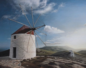 Painting, art, Landscape with a windmill in Amorgos island in Greece