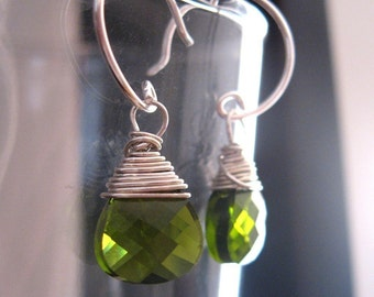 green swarovski briolette earrings - olivine